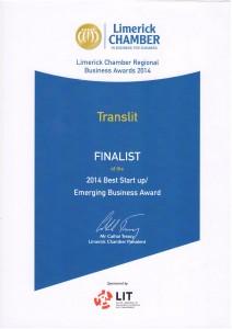 Limerick Chamber Regional Business Award 2014 TRANSLIT Certificate